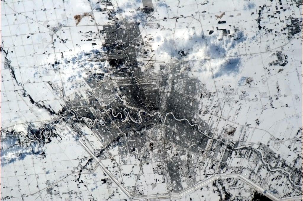 Winter Winnipeg from Space
