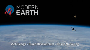 Modern Earth Logo with Supply Spaceship over Earth with Moon in Background