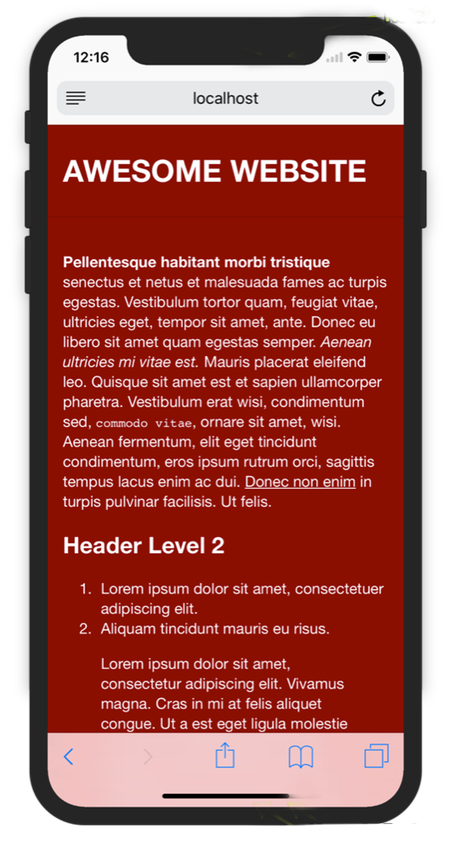 mobile first website iphone