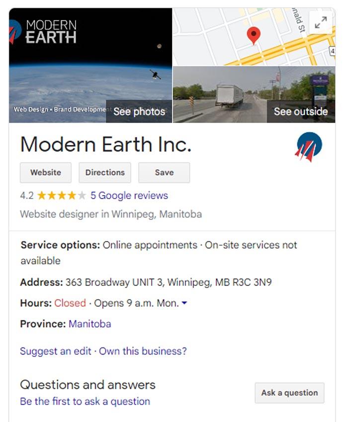 Google My Business Modern Earth Listing 1